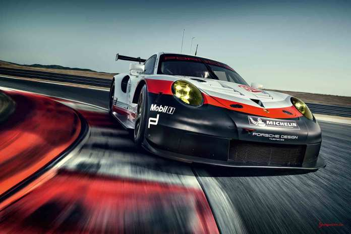 2017 Porsche GT-class 911 RSR: Rolex 24 Daytona debut - the 2017 911 RSR is seen from its right-front on track. Credit: Porsche AG