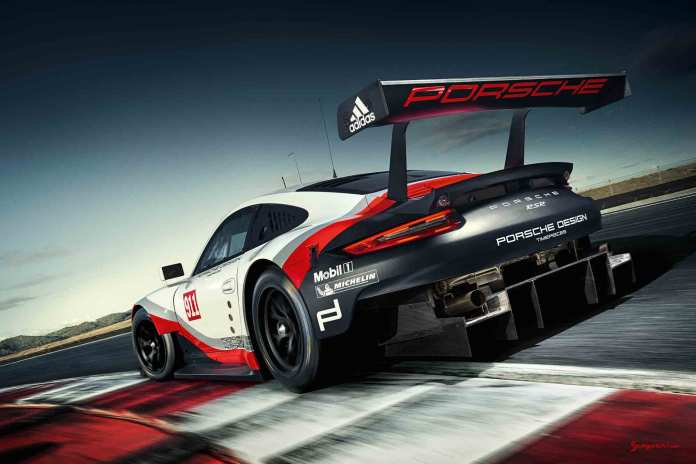 2017 Porsche GT-class 911 RSR: Rolex 24 Daytona debut - the 911 RSR is seen here in a tighter shot of its left-rear on track, showing off its huge rear diffuser. Credit: Porsche AG