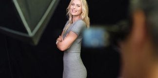 Maria Sharapova 2017 early professional tennis comeback: Sharapova in a silver dress in profile. Credit: PAG