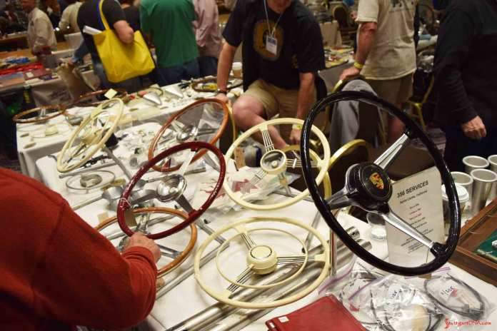 2017 Porsche L.A. Literature, Toy and Memorabilia Meet Weekend: Seen here is a table of vintage 356 steering wheels in the 2017 L.A. Lit Meet's large ballroom. Credit: StuttgartDNA