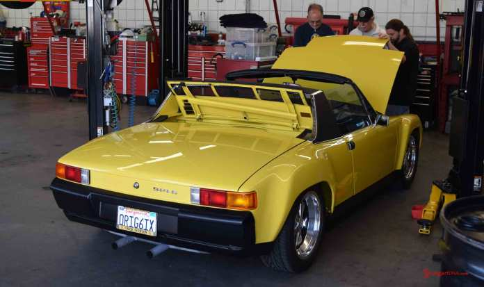 2017 Porsche L.A. Literature, Toy and Memorabilia Meet Weekend: Callas 1971 Porsche 914-6, right rear, a restoration project for the Callas Rennsport shop seen here at the 2017 Lit Weekend Callas Rennsport Open House. Credit: StuttgartDNA