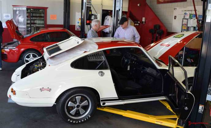 2017 Porsche L.A. Literature, Toy and Memorabilia Meet Weekend: Callas Rennsport's Porsche 911R No 001 is seen here from the right side, passenger door open, in the Callas Rennsport shop during 2017 Lit Weekend Open House on Friday, 03/03/17. Credit: StuttgartDNA