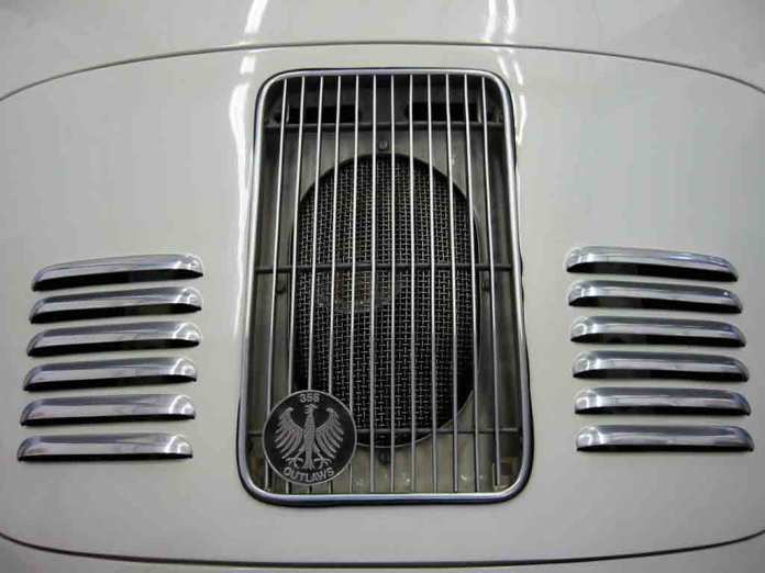 "2017 Porsche L.A. Literature, Toy and Memorabilia Meet Weekend: Pictured here is GTwerk's aluminum skin with louvers (and a ""356 Outlaws"" grill badge) from the firm's catalog. Credit: GTwerk"