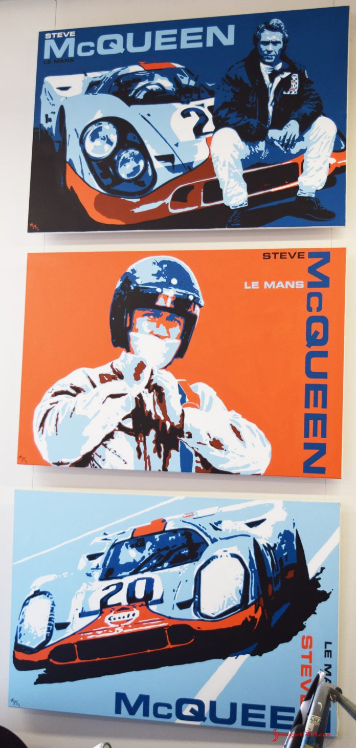 "2017 Porsche L.A. Literature, Toy and Memorabilia Meet Weekend: The Steve McQueen Le Mans Trilogy, 2016. By Nicolas Hunziker, Switzerland. Three original paintings, acrylic on canvas, 60 inches by 40 inches each. The paintings each depict stylized moments from the movie ""Le Mans."" Commissioned by Chadwick McQueen and the Terry McQueen Testamentary Trust. List Prices: ""Between Scenes"" Painting No. 1, $75,000; ""Just Like Jo"" Painting No. 2, $75,000 (reserved); and ""No More Waiting"" Painting No. 3, $75,000."