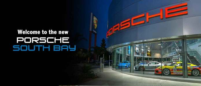 2017 Porsche L.A. Literature, Toy and Memorabilia Meet Weekend: Image from website homepage of the front exterior of Porsche South Bay with Welcome announcement. Credit: Porsche South Bay