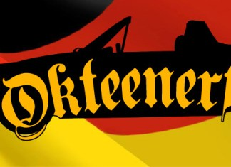 Okteenerfest 2017 Registration Opens: Okteenerfest logo bearing a Porsche 194 in silhouette and the word Okteenerfest superimposed on it, all against a waving Germany flag.