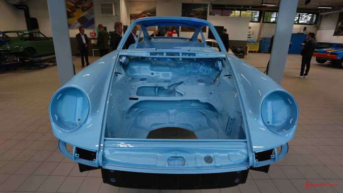 Porsche AG opens Son Norway Porsche Classic Center - Seen here is the newly painted tub of a classic power-blue 911, at the opening of the new Porsche Classic Center Son, Norway. Credit: Porsche AG