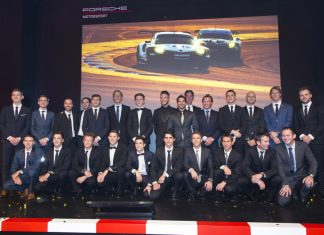 Who are Porsche AG's 2018 Motorsport Works Drivers?: Pictured here are all of the 2018 Porsche Works Drivers in a group photo at the December 2017 Night of Champions gala event. Credit: Porsche AG