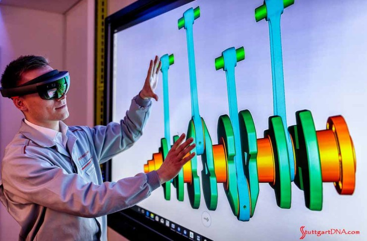 Porsche Inno-Space quality-control program: An example of Porsche Inno-Space is demonstrated here with an image of a crankshaft on a large video screen. Credit: Porsche AG