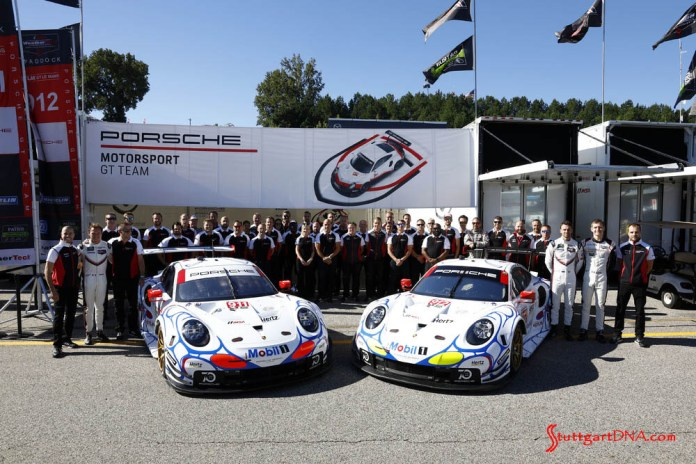 Porsche wins 2018 Petit Le Mans: Posing here for a large group photo are the Porsche Motorsport GT Team drivers and crew with both 911 RSR cars in tribute Mobil 1 livery. Credit: Porsche AG