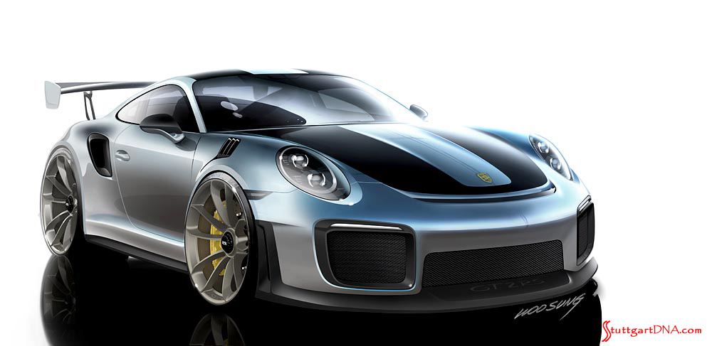 October 2018 Porsche USA sales: Seen here is a 911 GT2 RS design sketch, viewed from the Porsche's right-front corner. It was sketched by Woo Sung. Credit: Porsche AG