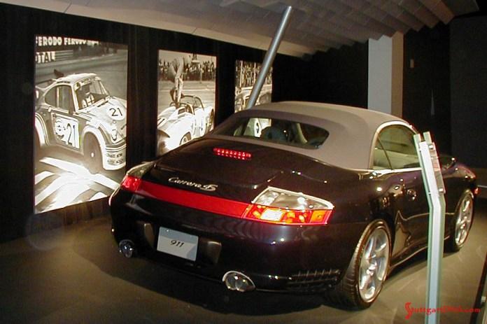 996-gen Porsche 911 Buyer Guide: A 996-gen-911 Carrera Cabriolet, its fabric top up, on exhibition at the 2004 L.A. Auto Show. Credit: StuttgartDNA.com