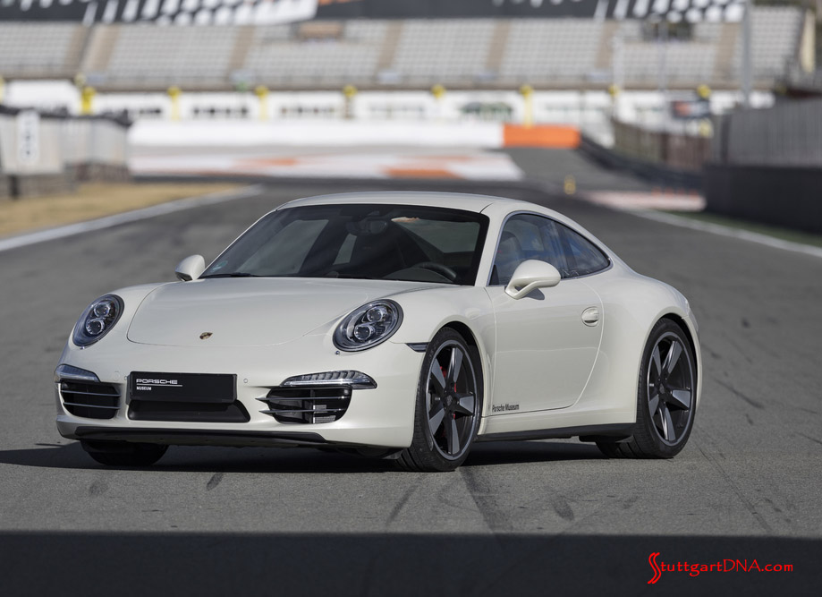 February 2019 Porsche USA sales: Grey 911S 991, 50th Anniversary Edition, left front, at rest on track. Credit: Porsche AG