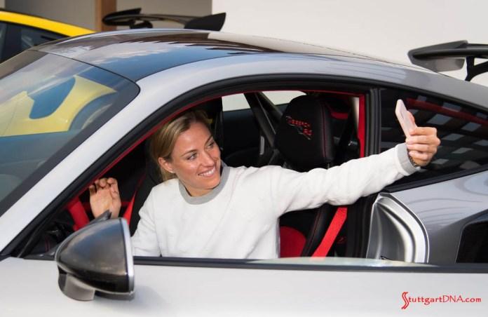 Wimbledon champion Kerber tours Porsche Centre Dubai: Pictured here is Angelique Kerber taking a selfie in a 911 GT2 RS in Dubai. Credit: Porsche AG