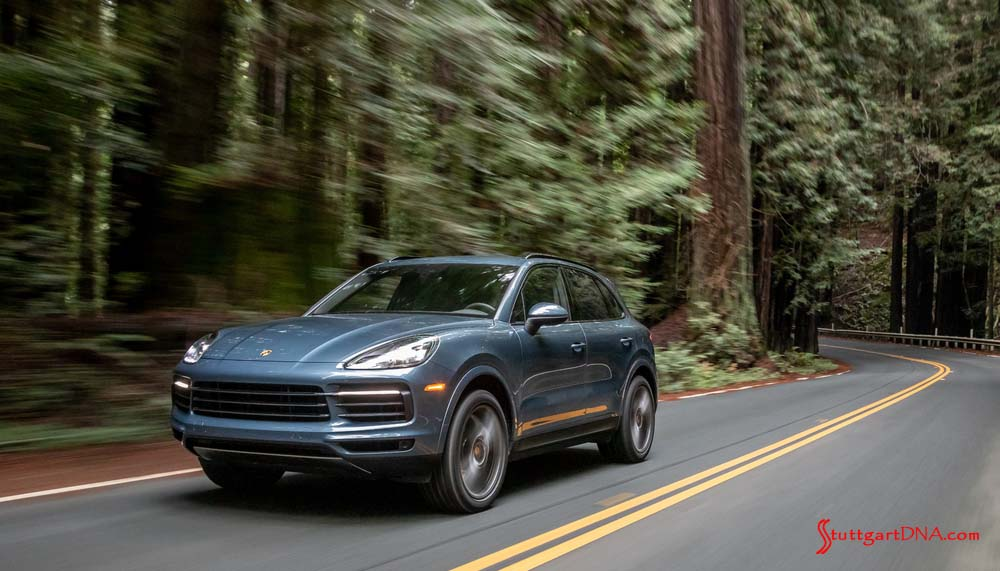 March 2019 Porsche USA sales: A blue 2019 Cayenne E3 is seen driving on a winding road through a dense forest of redwoods. Credit: Porsche AG