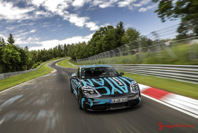 Porsche Taycan first electric sports car world premiere: Depicted here is the Taycan on track to setting its record on the Nordschleife. Credit: Porsche AG