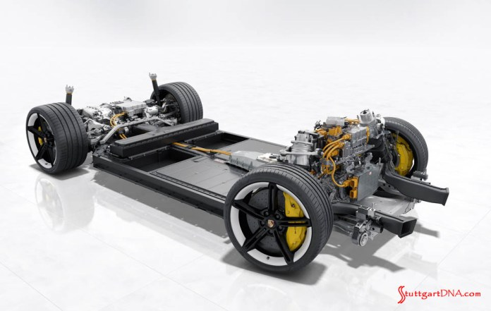 Porsche Taycan first electric sports car world premiere: Depicted here is an isolated view of the Taycan's rolling chassis. Credit: Porsche AG