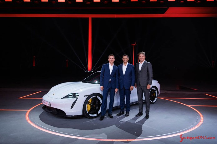 At the China Premiere are Peter Varga, Director Exterior Design – Style Porsche; Michael Steiner, Member of the Executive Board of Porsche AG – Research and Development; and Gernot Döllner, Vice President Product and Concept of Porsche AG. Credit: Porsche AG