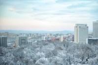 Ein Blick über die Winterlandschaft von Sapporo