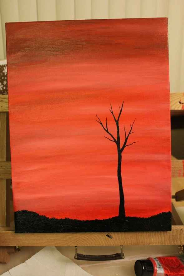 Tree Silhouette Painting : silhouette, painting, Create, Silhouette, Paintings, Using, Acrylics, StuwahaCreations