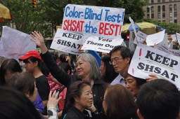 New York, NY, USA - June 10, 2018: Supporters of the Specialized High School Admission Test SHSAT rally at City Hall to protest Mayor di Blazio's and School's Chancellor Richard Carranza's decision to scrap the test.