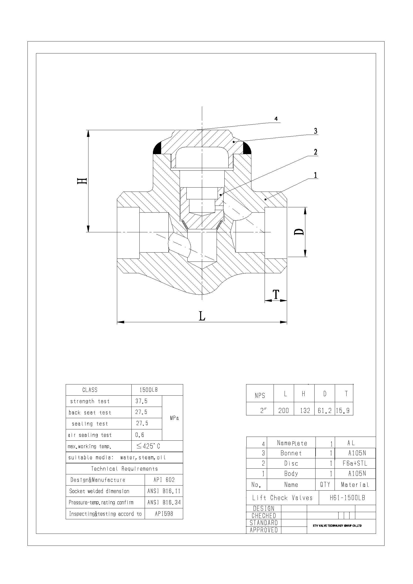 Api 602 Lift Check Valve Lb A105n Dn25 Sw End China