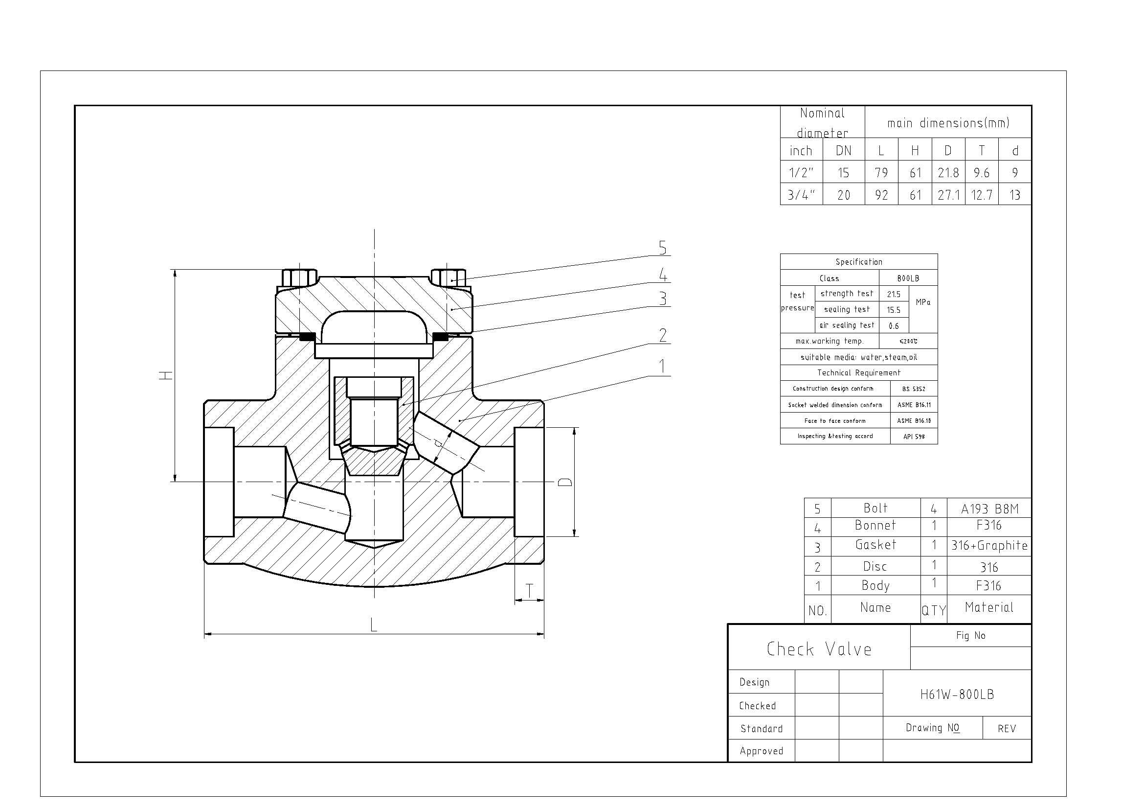 Lift Check Valves Api 602 Cl800 Dn32 Fnpt End Industrial