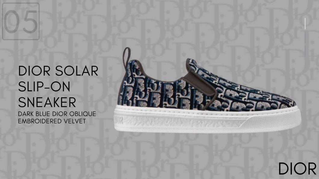 DIOR SOLAR SLIP-ON Dark Blue Dior Oblique Embroidered Velvet-Dior Sneakers-รองเท้าดิออร์