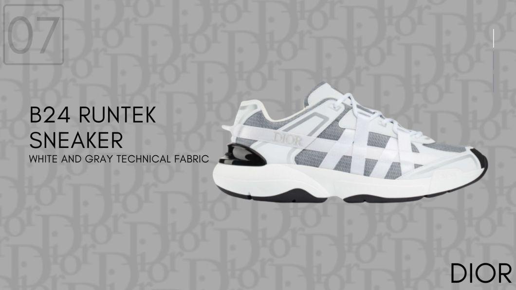 B24 RUNTEK White and Gray Technical Fabric-Dior Sneakers-รองเท้าดิออร์