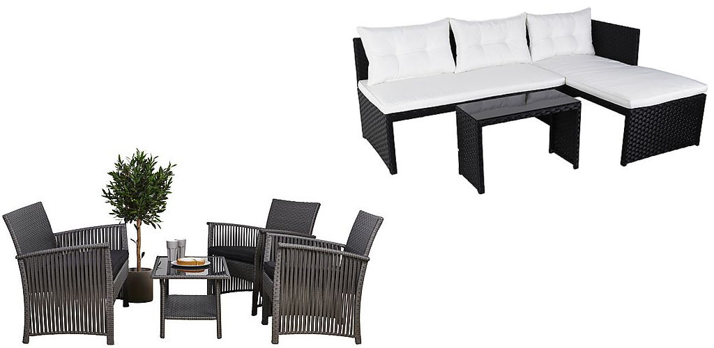 Rattan Effect Sofa Set 4pc