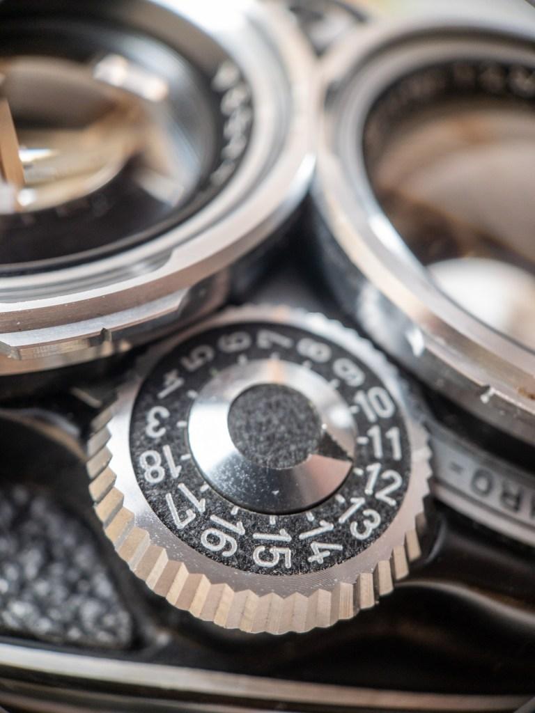 Rolleiflex 2.8D camera shutter dial close-up