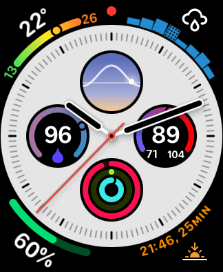 My Buienradar rain forecast chart in action in the top right of my Apple Watch