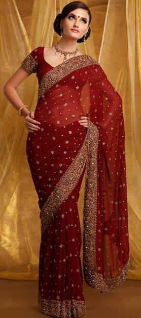 gorgeous embroidered formal red saree