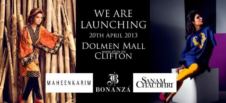 Sanam Chaudhri and Maheen Karim Dresses 2013 by Bonanza