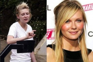 Kirsten Dunst With&without makeup