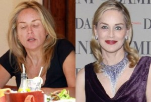 Sharon Stone With&without makeup