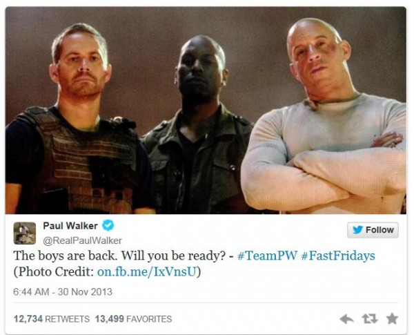 Paul walker tweeted about seventh 'Fast and Furious' Movie Yesterday.