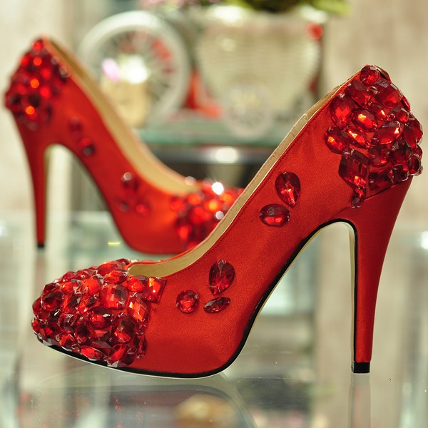 Red Bridal High Heel Shoes For Wedding 002