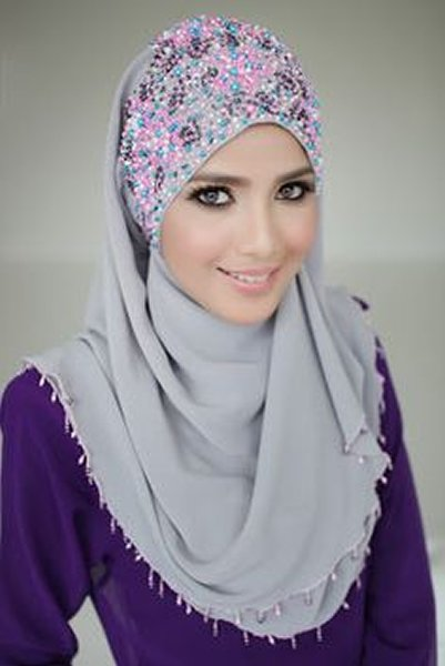 Fashion Of Embroidered Hijabs 2014 For Women 009