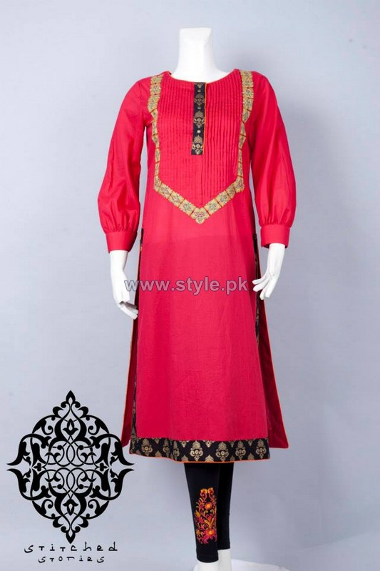 Stitched Stories Mid Summer Dresses 2014 For Girls 4