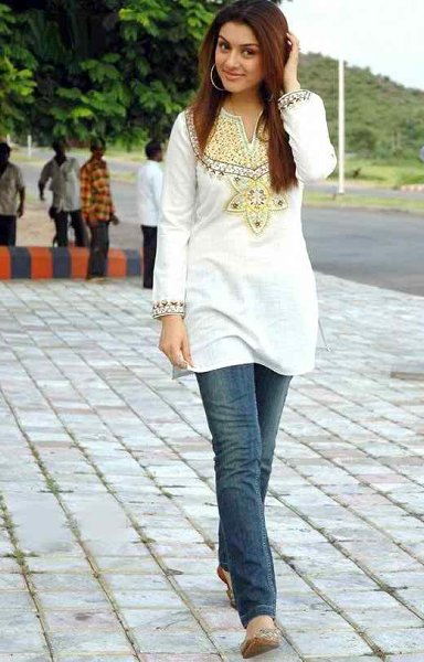 Trend Of Women Kurtas 2014 With Jeans 005