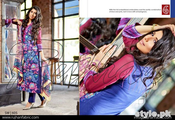 Rujhan Fabric Zunia Embrodiered Collection 2015 Volume 2 6