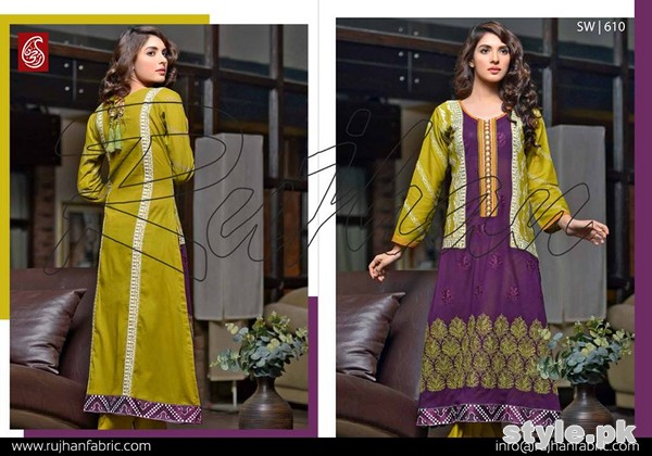 Rujhan Fabric Zunia Embrodiered Collection 2015 Volume 2 7