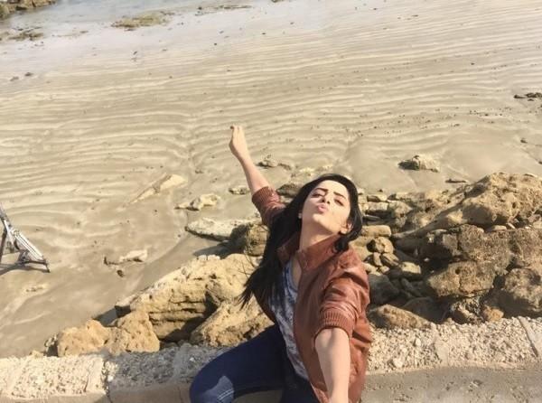 sanam chaudhry on beach