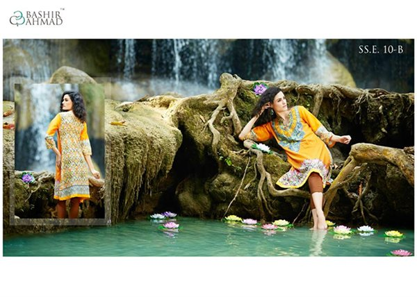 Bashir Ahmad Textiles Single Shirts Collection 2015 For Women 001