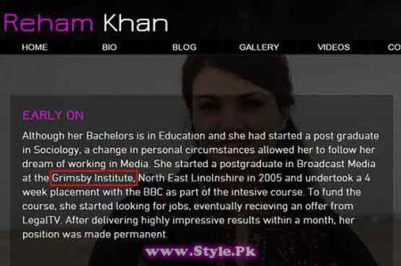 See Reham changed her college name from North Lindsay College to Grimsby Institute on official website, is her degree fake?