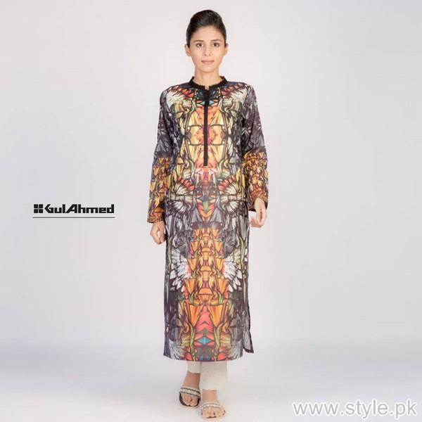 Gul Ahmed Digital Kurti Designs 2015 For Girls 5
