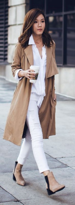 How to Manage White Dresses in Winter- camel