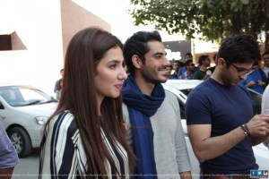 Adeel Hussain and Mahira Khan at IOBM university Karachi