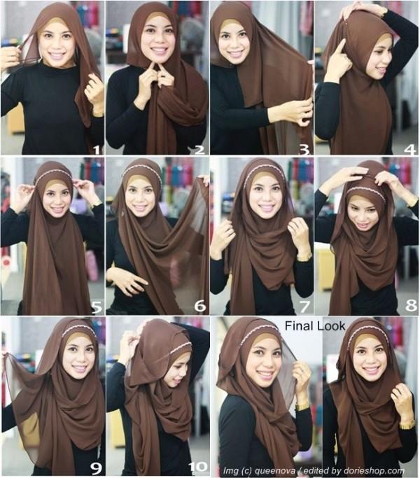 Formal Hijab Styles 2016-brown